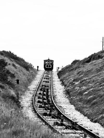 Great Orme Tram, Llandudno, North Wales Rail Transportation Sky Railroad Track Clear Sky Track Transportation Nature Day Mode Of Transportation Copy Space Train No People Train - Vehicle Outdoors Mountain Public Transportation Direction Land Guidance Tram Tramway