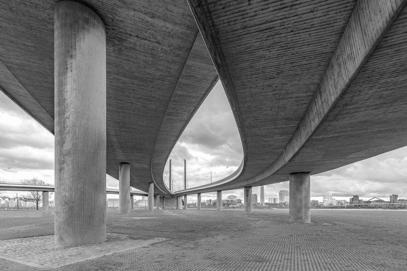 Architecture Düsseldorf Forms Modern Rhein Architectural Column Below Black And White Blackandwhite Bridge Bridge - Man Made Structure Built Structure Concrete Connection Engineering Rheinkniebrücke Road Sky Transportation Underneath