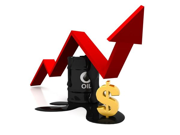 White Background Close-up Cut Out Still Life Indoors  Oil Pump Graph Increase Grouth Price Tag Market Barrel Bull Stockmarket
