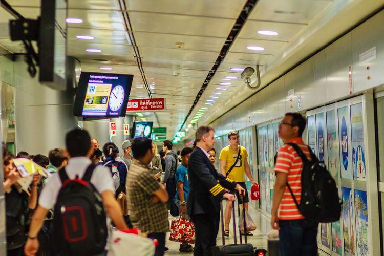 Bangkok, Thailand - February 21, 2017: View of inside the Suvarnabhumi International Airport Rail Link Station. Airport Rail Link Airport Rail Link Station Airport Railway