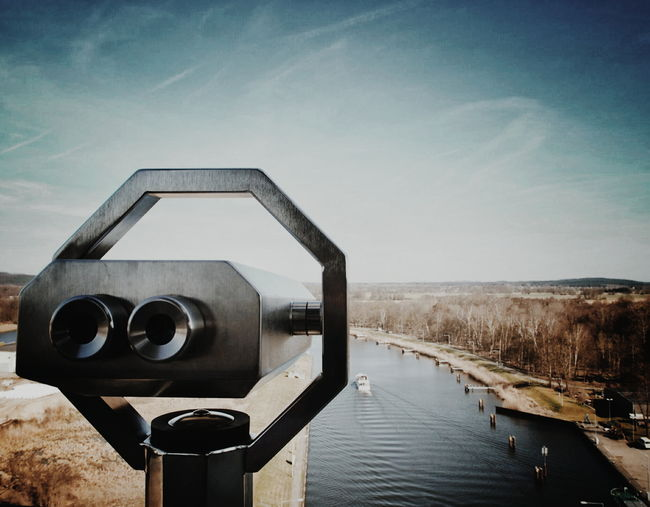Coin operated binoculars at observation point