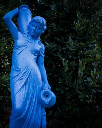 Blue Close-up Human Representation No People Outdoors Plant Sculpture Statue