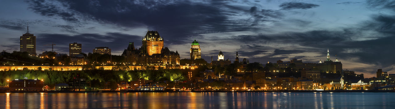 Quebec's Night Reflection Architecture Building Exterior Built Structure City Cityscape Cloud - Sky Illuminated Night No People Outdoors Sky Skyscraper Travel Destinations Urban Skyline Water