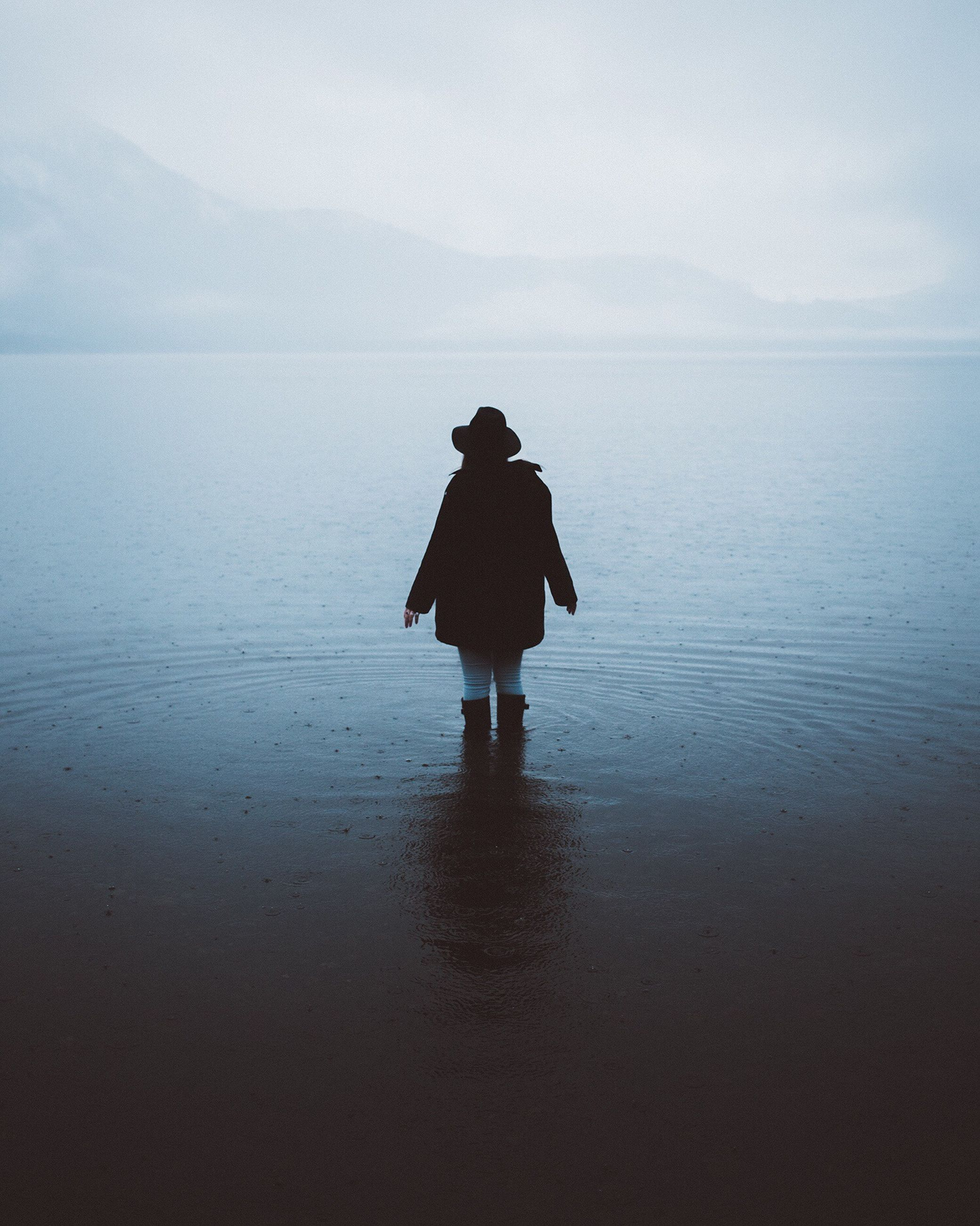 reflection, silhouette, one person, walking, one woman only, people, lake, adult, outdoors, real people, water, sky, nature, adults only, only women, day