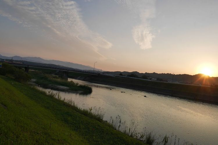 福岡県田川郡 River On The Road Moto Life EyeEm Best Edits Eye Em Japanese View No Filter, No Edit, Just Photography Autumncolors Sunset Sky Tranquil Scene Scenics - Nature Tranquility Beauty In Nature Land Water Landscape Cloud - Sky Sunlight