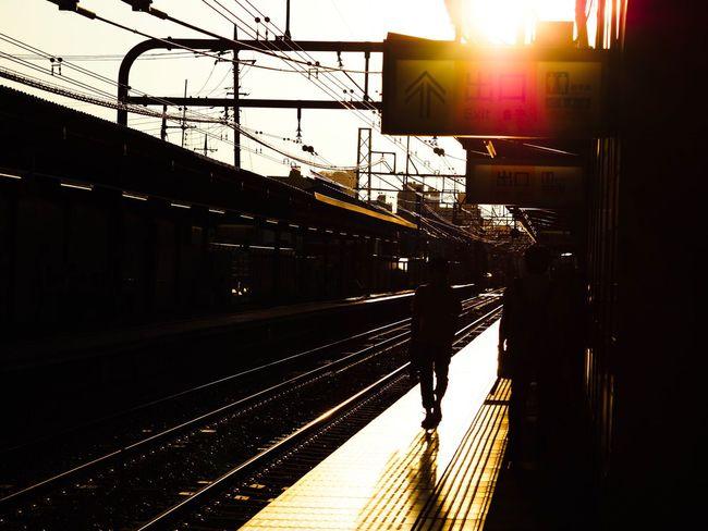 見慣れた風景。 Railroad Station Railroad Station Platform Public Transportation Railroad Track Rail Transportation Sunset Light And Shadow Streetphotography Tokyo Street Photography Japan Photography Olympus OM-D E-M5 Mk.II 海が見たいな。