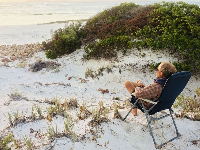 Contemplation EyeEmNewHere Meditation Place Beach Camping Folding Chair Mature Adult Relaxation Relaxing At Beach