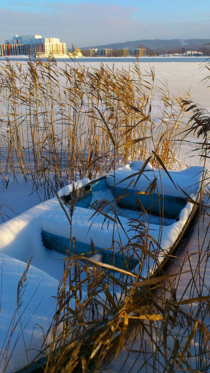 water, nature, winter, cold temperature, lake, no people, snow, tranquil scene, tranquility, outdoors, day, beauty in nature, scenics, frozen, sky, horizon over water, grass, nautical vessel, close-up