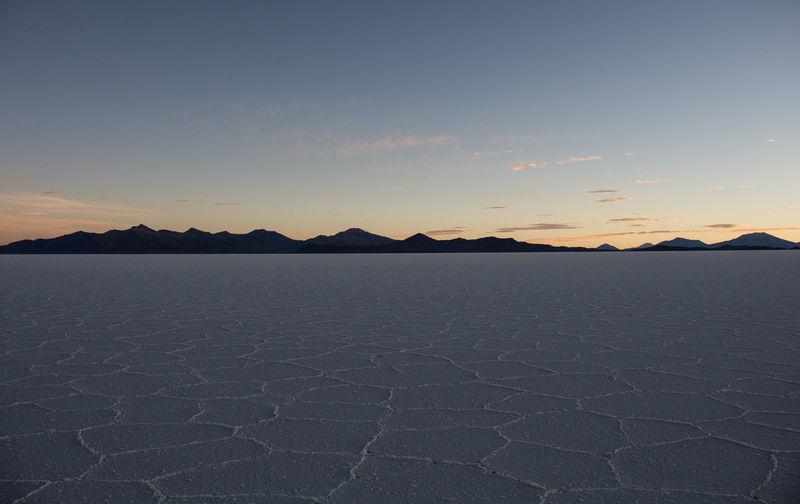 Sunset Sunset Salt - Mineral Salt Flat Salar De Uyuni Scenics - Nature Landscape Sky Desert Outdoors Remote