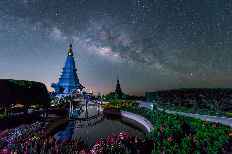 Panoramic view of temple building against sky at night