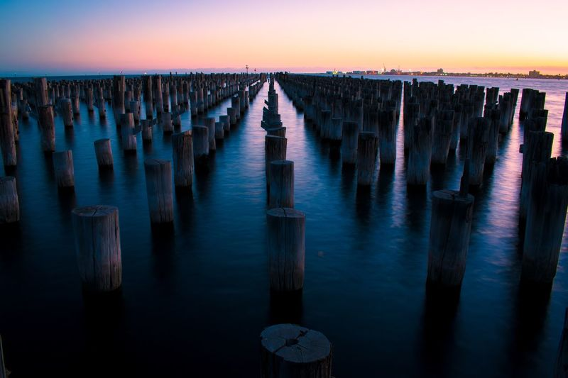A beautiful sunset panoramic view from princes pier, the historic derelicted pier in port melbourne.