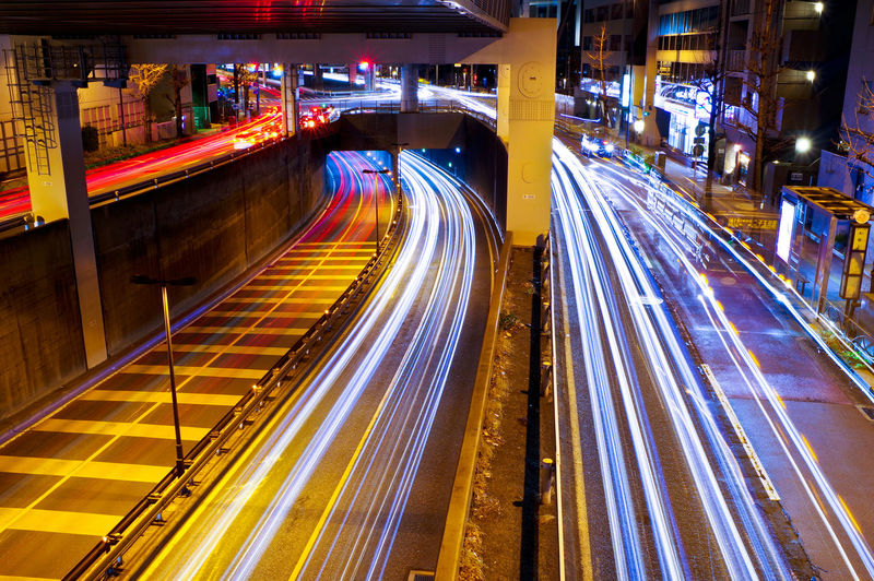Illuminated Long Exposure Night Speed Transportation Light Trail Motion City Blurred Motion High Angle View Street Architecture Road Glowing No People Built Structure Direction City Life Highway Mode Of Transportation Multiple Lane Highway Tokyo Night Tokyo Japan Japan Photography