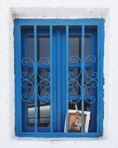 Closed Blue Window Built Structure Building Exterior Outdoors Day Architecture Door House No People Close-up Security Bar Santorini, Greece Santorini EyeEmNewHere