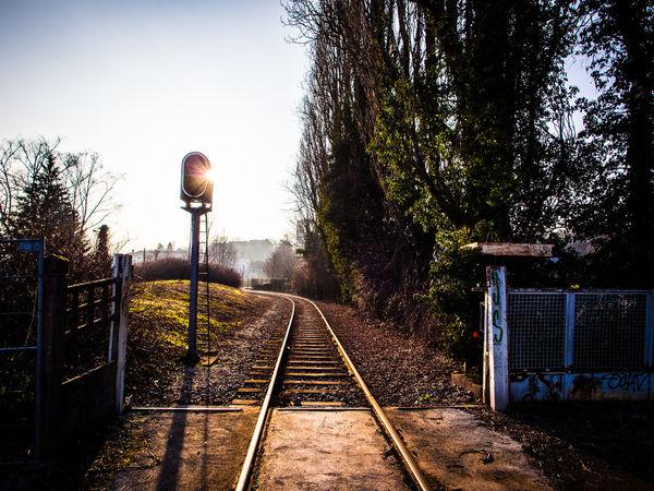 Clear Sky France Railroad Track Railway Track Sky Sochaux Tracks Urban