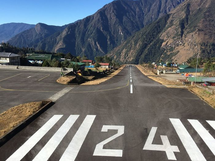 The runway in Lukla, Nepal Nepal Travel Nepal Lukla Lukla Airport Himalayas Runway Airport Runway Airport Mountain Transportation