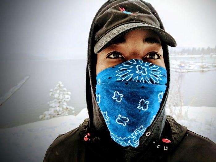 Portrait of man in winter