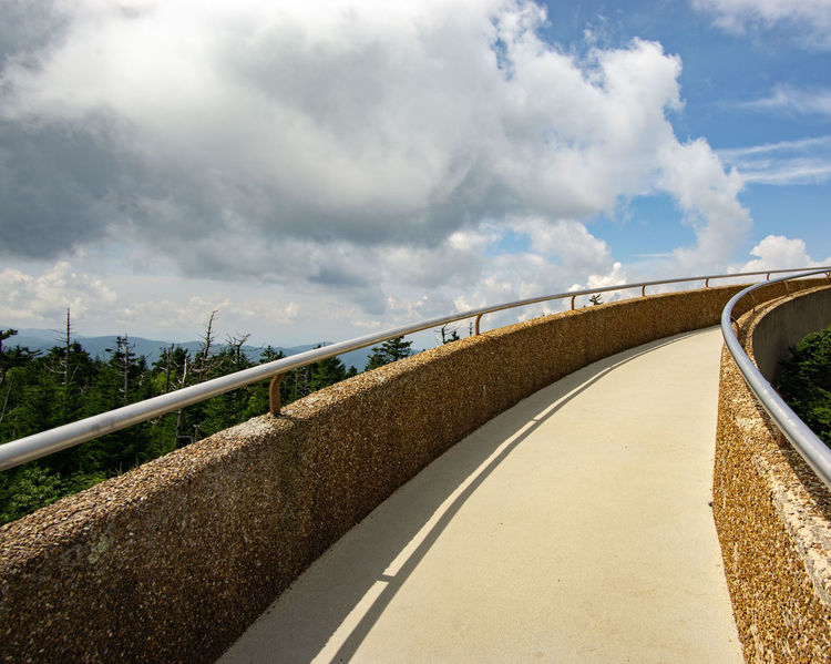 Up Up and Away Clingmans Dome Built Structure Path Upward View Lookout POV Winding Road Road Curve Hill Road Trip Mountain Road Sky Landscape Cloud - Sky Elevated Road The Way Forward Pathway Diminishing Perspective Parallel