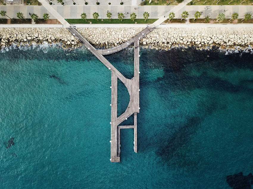 Such a wonderful place in Limassol, Cyprus! Beautiful Blue Sea City Drone  Fly Rocks And Minerals Romantic Architecture Beauty In Nature Bridge - Man Made Structure Clear Water Day High Angle View Jetty Nature No People Outdoors Park Photography Rocks Rocks And Water Sea Shore Shoreline Water