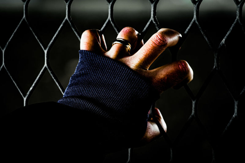 Close-up of human hand on chainlink fence