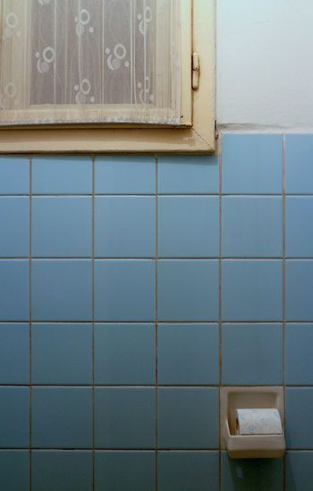 Toilet paper roll on blue tiled wall