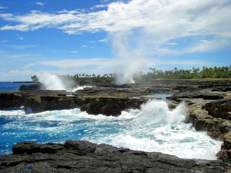 Beauty In Nature Cloud - Sky Flowing Water Idyllic Nature Power In Nature Rock - Object Rock Formation Scenic Scenic View Scenics Sea Shore Sky Splashing Surf Tranquil Scene Water Waterblow Waterfront Waterhole Wave Samoa  Island Travel