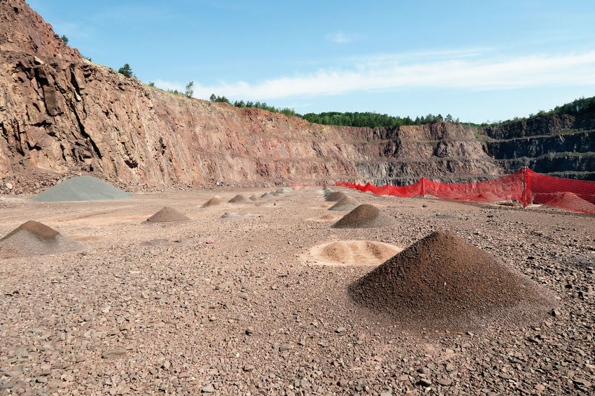 open pit mine with safety net. Cloud Cloud - Sky Day Idyllic Landscape Mine Mining Mining Heritage Mining Industry Mountain No People Open Pit Mine Open Pit Mining Outdoors Physical Geography Quarry Rock - Object Rock Formation Scenics Sky Sunlight Sunny Surface Mine Surface Mining Vacations