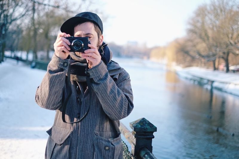 Outdoors Day Winter Cold Temperature Taking Photos One Person Camera Xavier Canal Water