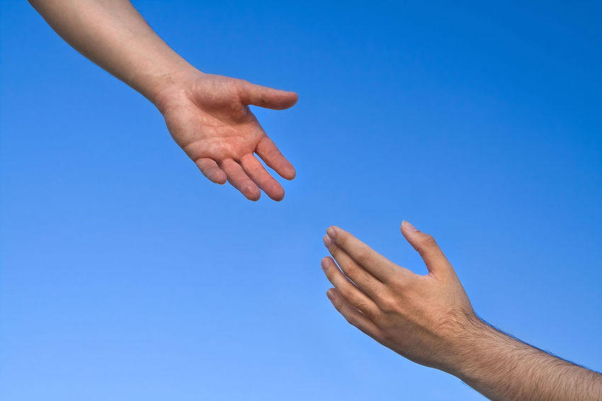 Helping Hand Reaching Out Christian Hands Assist Blue Sky Help Needy Reach
