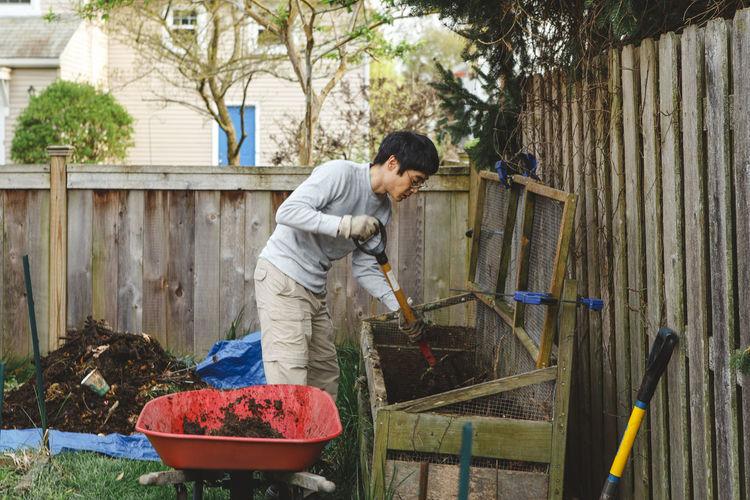 Man working in yard