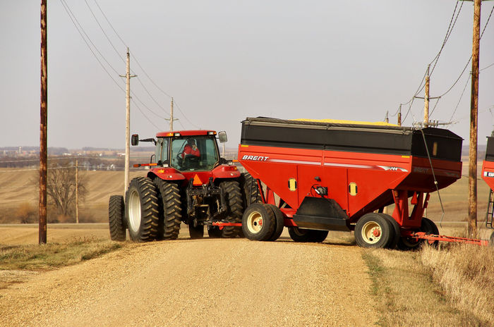 Road Hog Agriculture Canon60d Canonphotography Case-ih Farm Farm Equipment Gravel Road Harvest Power Lines Red Road Hog Tractor Wagon