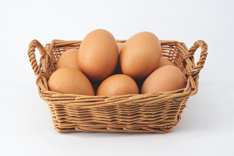 Close-up of basket against white background