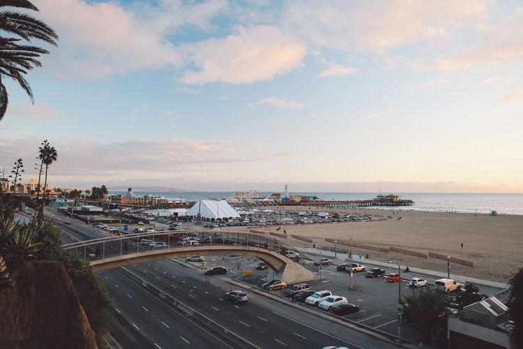 High Angle View Of Bridge Over Road By Santa Monica Beach