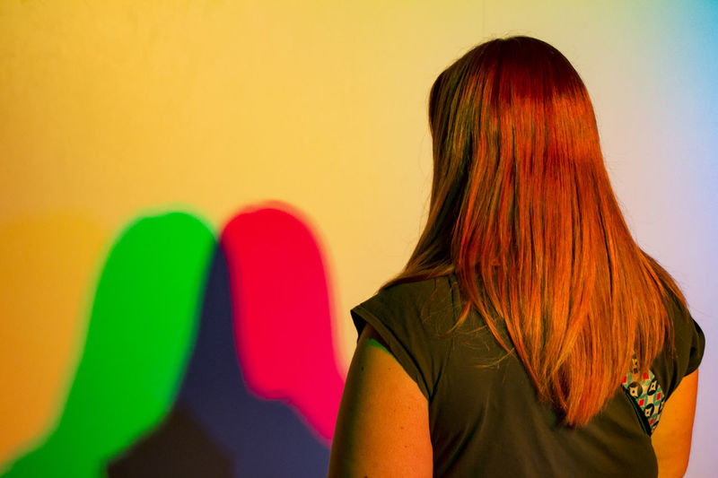 Creative Photography One Person Lines And Patterns Copy Space One Woman Redhead RGB Perspective Indoors  Cosmocaixa Light Painting Focused Focused On Foreground Colorful
