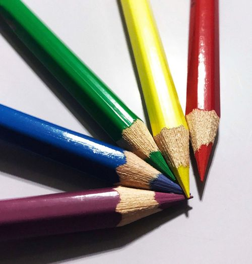 Writing Instrument Pencil Multi Colored Still Life Colored Pencil Art And Craft This Is Queer Indoors  No People Close-up Variation Choice High Angle View Craft Sharp Creativity Arrangement Group Of Objects Studio Shot