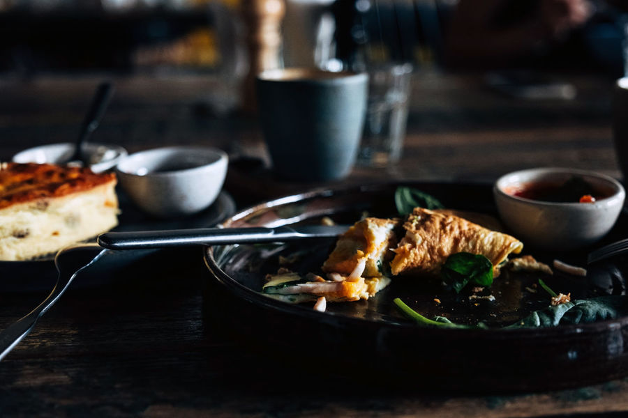 yummy breakfast on the wooden table Business Close-up Eating Utensil Focus On Foreground Food Food And Drink Freshness Glass Household Equipment Indoors  Kitchen Utensil Meal Meat No People Plate Ready-to-eat Restaurant Selective Focus Serving Size Still Life Table Temptation