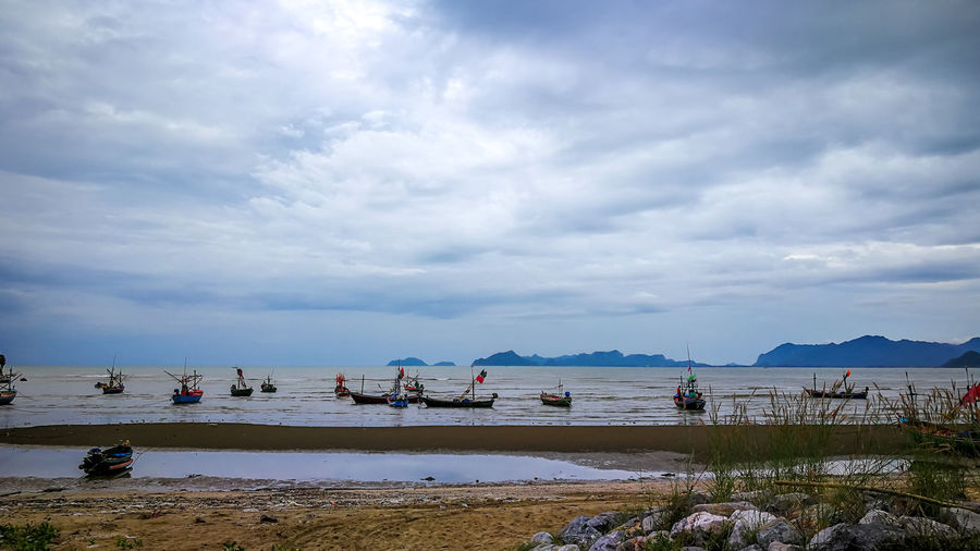 Rural Seashore Twilight Bay Beach Beauty In Nature Boat Cloud - Sky Clounds And Sky Countryside Day Fishing Boat Land Nature Nautical Vessel Outdoors Rock Scenics - Nature Sea Ship Sky Tranquil Scene Tranquility Transportation Water