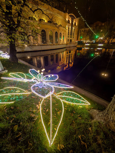 Russia, Moscow, Chistye Prudy, the restaurant is Clean ponds, a Park Architecture City Horizontal Igniting Illuminated Night No People Outdoors Russia, Moscow, Chistye Prudy, The Restaurant Is Clean Ponds, A Park Travel Destinations Tree