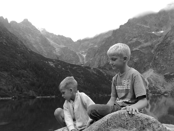Black And White Friday Mountain Girls Childhood Child Two People Togetherness Family Sitting Mountain Range Outdoors Lake Nature Rock - Object Day Bonding Blond Hair Landscape Scenics Children Only People Morskie Oko Morskie Oko - Poland Morskieoko