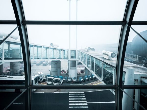 Traveling Home For The Holidays Airport Fog Window Transportation Roissy Charles De Gaulle Airport Winter