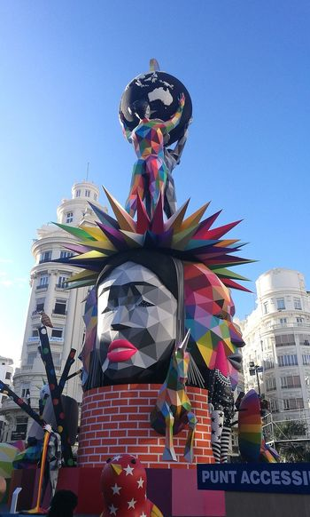 Fallas 2018 València Tradició City Multi Colored Statue Crown Ceremony Royalty Arts Culture And Entertainment Tradition Blue