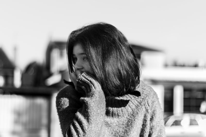 Beautiful Woman Close-up Day Focus On Foreground Leisure Activity Lifestyles One Person Outdoors People Real People Rear View Standing Warm Clothing Young Adult Young Women
