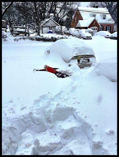 Jessie making a snow angel Snowzilla Blizzard 2016 Epic Snow