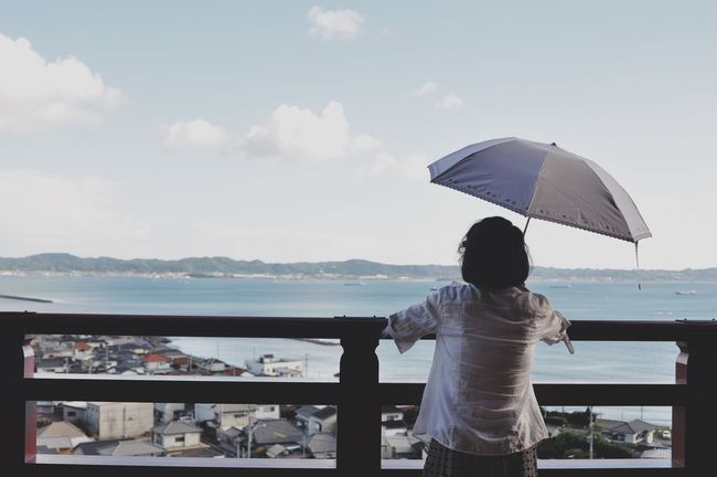 Summer Water Sea Sky Nature Japan Photography Chiba Umbrella Women Old Buildings Sea View Standing