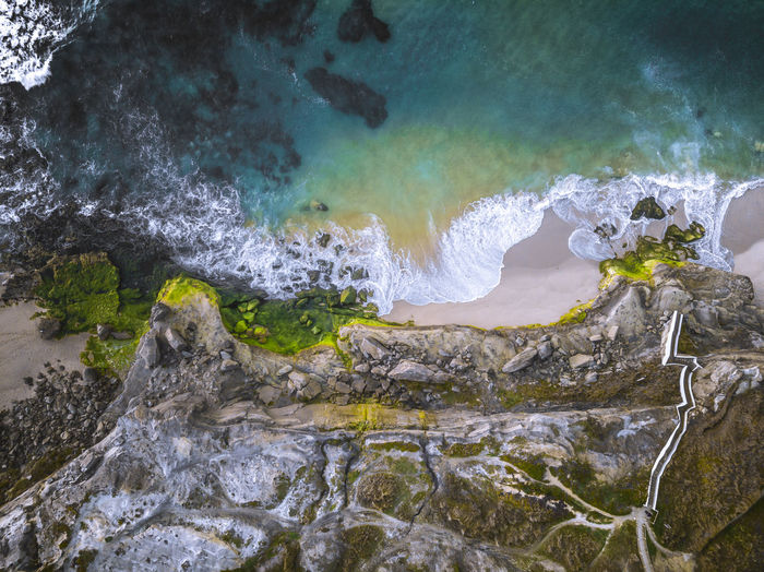 Ocean Aerialphotography Drone  Dronefly Dronelife Droneoftheday Waves Water Wave Motion Mountain High Angle View Sea Power In Nature Surf Shore Sandy Beach Beach Sand Surfer Rocky Coastline Tide Rock Formation Coast
