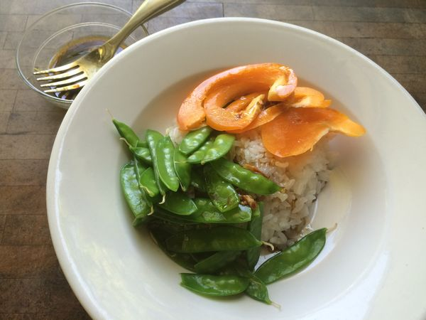 Appetizer Food Food And Drink Freshness Garnish Garnished Green Color Healthy Eating High Angle View Indoors  Indulgence Meal No People Peppers Plate Ready-to-eat Rice Served Serving Size Snow Peas Temptation Vegetable