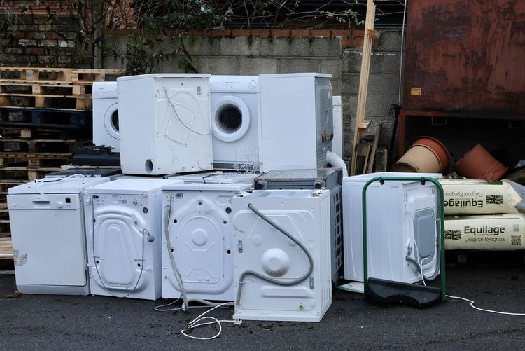 washing machine Second Hand Abandoned Breakers Breakers Yard Day No People Outdoors Second Hand Market Second Hand Washing Machines Stack Technology Washing Machine