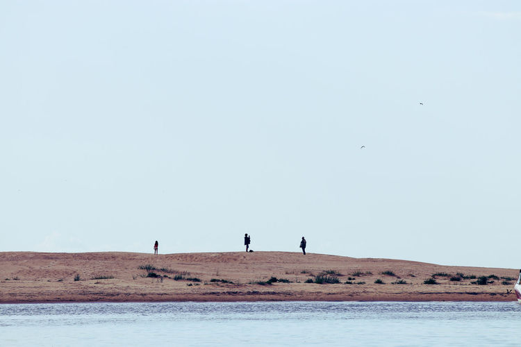 View of people on beach against clear sky