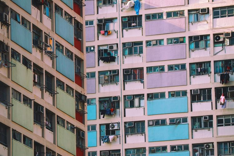 Architecture of Hong Kong. The Architect - 2018 EyeEm Awards Apartment Architecture Backgrounds Balcony Building Building Exterior Built Structure City City Life Day Full Frame In A Row Low Angle View Modern Nature No People Outdoors Pattern Residential District Window