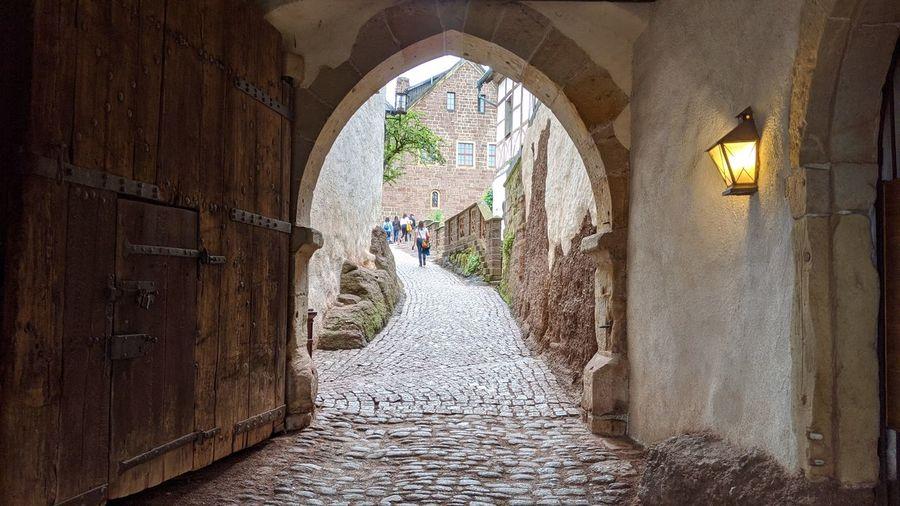 View of narrow corridor along walls