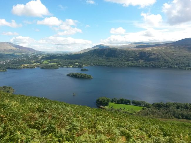Landscape Lake Water Scenics Outdoors Mountain Nature Beauty In Nature The Lake District  Sunny Day Travel Destinations Cloud - Sky Blue Sky, White Clouds No People